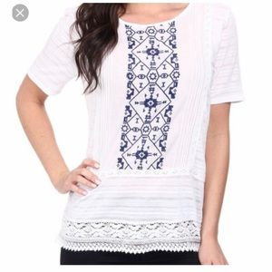 Lucky Brand with embroidery and lace detailing.
